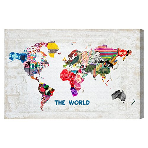 "Oliver Gal 'Hipster Mapa Mundi' Canvas Art, 15\""x10\"""