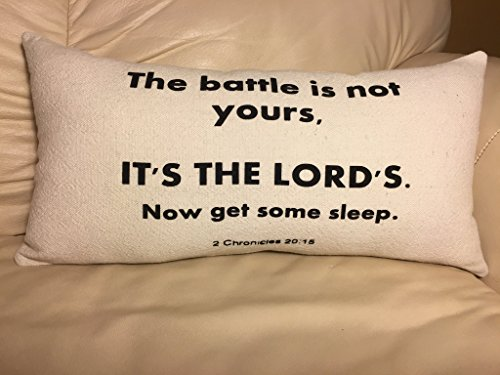 2 Chronicles 20:15 Scripture The Battle Pillow Black and Canvas Beige Inspiration Bible Sleep Home Decor