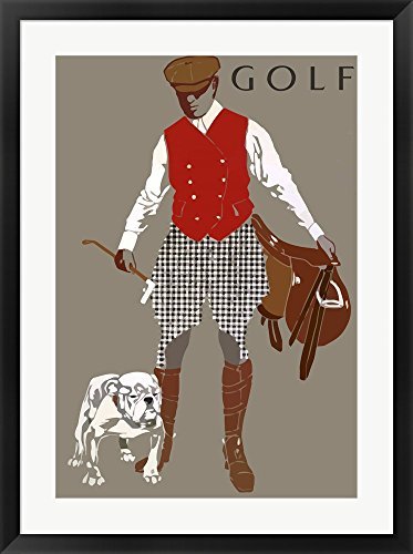 Bulldog Golf by Vintage Apple Collection Framed Art Print Wall Picture, Black Frame