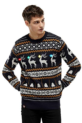 Men's Ugly Christmas Sweater LED Light-Up Xmas Pullover Classic Fair Isle & Reindeer Christmas Sweaters - Large (Christmas Cheeky Sweaters)