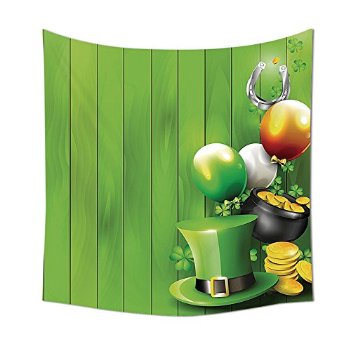 St. Patricks Day Tapestry Decor Wood Design with Shamrock Lucky Clovers Pot of Gold Coins and Horse Shoe Wall Hanging for Bedroom Living Room Dorm 80WX60L Inches Fern Green