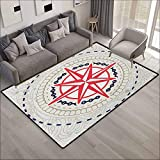 Classroom Rug,Compass Abstract Windrose with Marine Symbols Rope Chains Floral Design Navigation,Anti-Slip Doormat Footpad Machine Washable,5'3'x7'10', Hot Pink Blue Grey