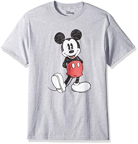 Disney Men's Full Size Mickey Mouse Distressed Look T-Shirt, Heather Grey, Extra Large