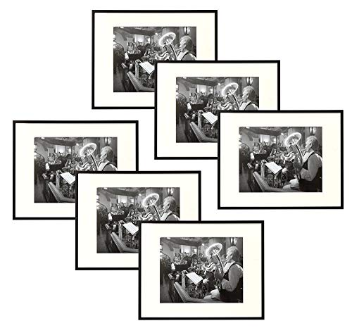 Set of Six - 11x14 Black Aluminum Frame - Ivory Mat for 8x10 Photo - Wall Mounting - Swivel Tabs, Spring Clips, Sawtooth Hangers - Aluminum Metal - Landscape/Portrait - Real Glass (Black - Set of 6) ()