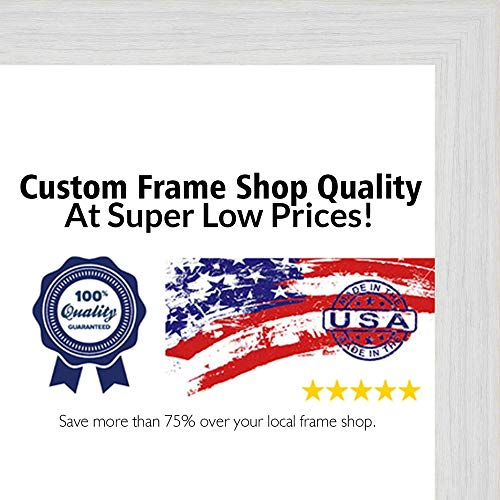 (Poster Palooza 28x36 Rustic White Wood Picture Frame - UV Acrylic, Foam Board Backing, Hanging Hardware Included!)