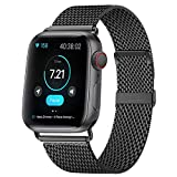 HILIMNY Compatible for Apple Watch Band 42mm 44mm, Stainless Steel Mesh Sport Wristband Loop with Adjustable Magnet Clasp for iWatch Series 1, 2, 3, 4, 5, Black