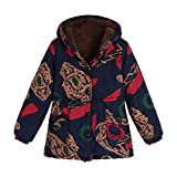 Clearance Sale Winter Coat for Women FEDULK Floral Print Outwear Vintage Hooded Parka Oversized Thick Warm Jacket(Khaki, US Size 3XL = Tag 4XL)