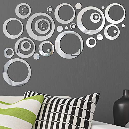 Sticker Decal Mirror - 32 Pieces Removable Acrylic Mirror Setting Wall Sticker Decal for Home Living Room Bedroom Decor (Style 6, 32 Pieces)