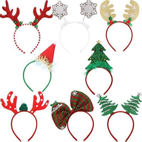 Makone Cerchietto Natalizio Renna, Costume Nastri per Capelli Elfi Cappelli da Festa Accessori Regali per le Vacanze di Natale (8 PCS)
