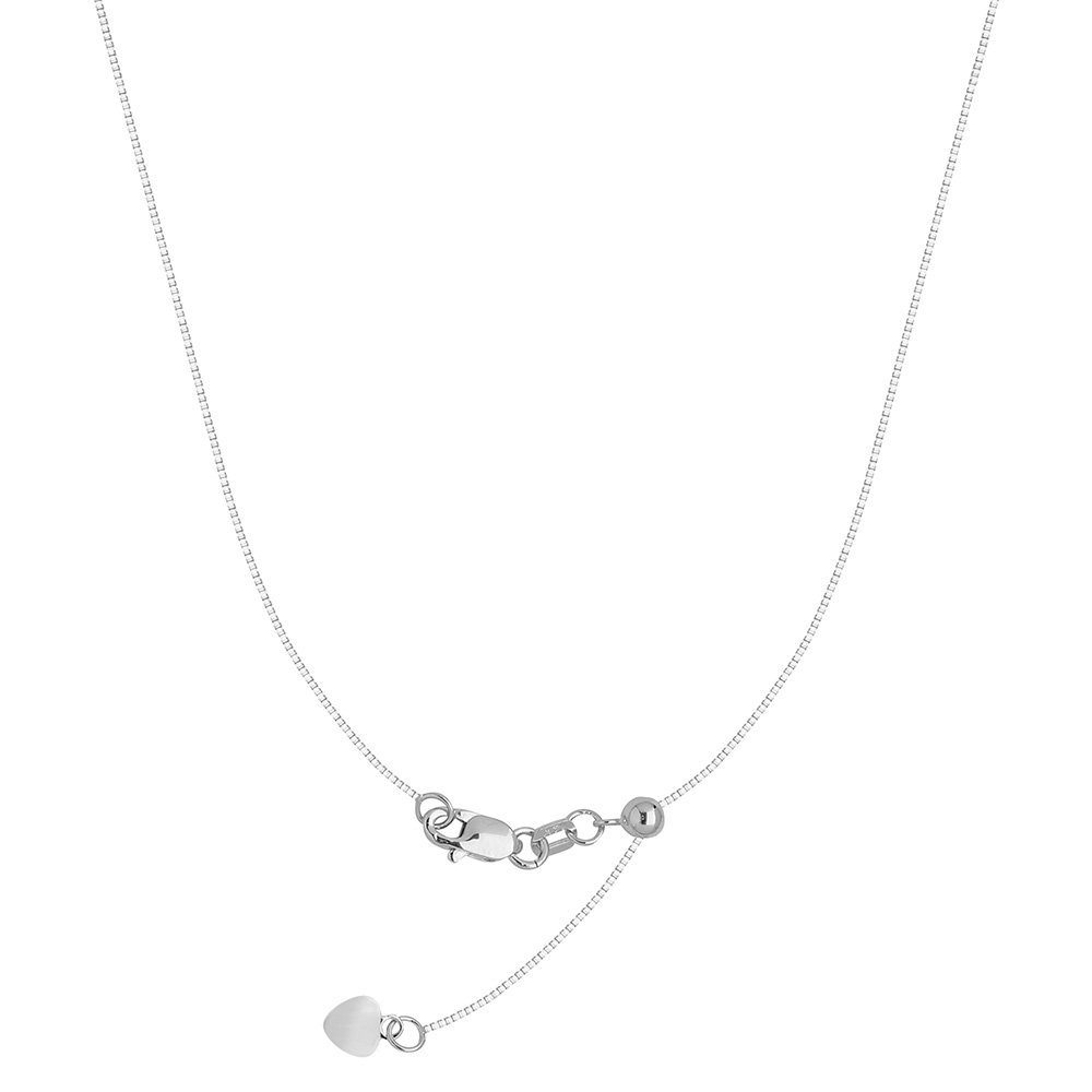 Sterling Silver Rhodium Adjustable Box Chain