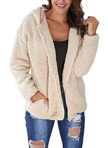 Dokotoo Womens Open Front Zip Down Long Sleeve Winter Furry Fleece Ladies Sweater Hooded Jacket Fluffy Pockets Coat Outerwear Cardigans Khaki Medium