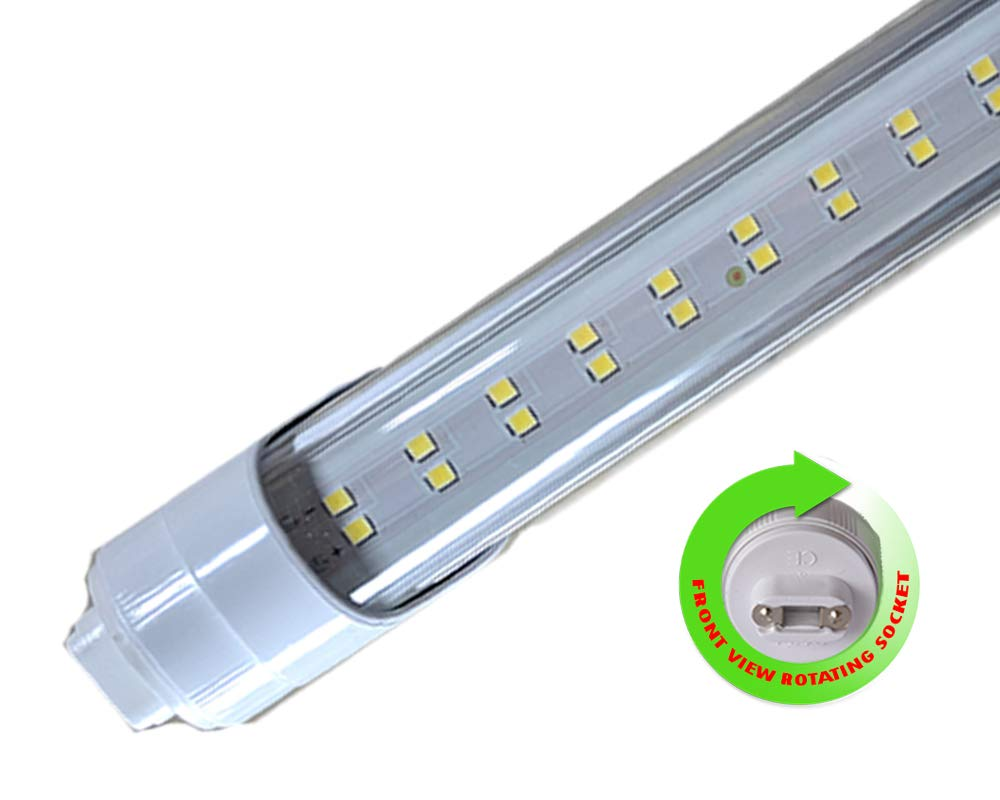 R17D/HO/CW 3 Feet 20 Watt 6500K F36T12/T8 Fluorescent Replacement Clear Lens Double Line LED Chips Tube Light (Lot of 10)