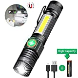 Torch USB Rechargeable Including 18650 Battery - LED Torch Tactical Super Bright Powerful Magnetic COB Work Torches Flashlight for Camping,Hiking,F