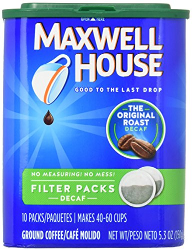 Maxwell House Original Medium Roast Decaf Coffee Filter Packs (40 Count, 4 Canisters of -
