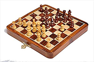 The House of Staunton's Folding Wooden Magnetic Travel Chess Set - 7""