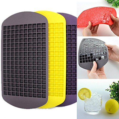 Silicone Ice-Cube Mold - 1 Piece 160 Grids DIY Creative Small Ice Cube Mold Square Shape Silicone Ice Tray Fruit Ice Cube Maker Bar Kitchen Accessories - RANDOM COLOR