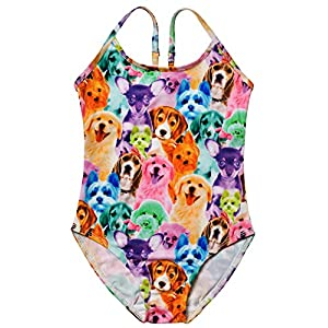 Jxstar Big Girls Suspender Swimwear Animal Pattern Rainbow Dog Printed One Piece Swimsuit Rainbow Dog Shorts 150