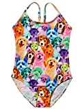 Jxstar Big Girls Suspender Swimwear Animal Pattern Rainbow Dog Printed One Piece Swimsuit Rainbow Dog Shorts 160