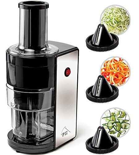 Electric Spiralizer with 3 Blades - Fast, Easy Spiral Vegetable Slicer - Stainless Steel - Compact Storage - Fits Most Large Vegetables Including Zucchini and Carrots - By PII
