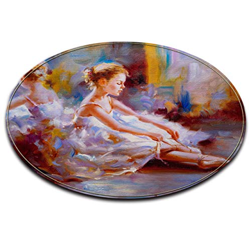 Ballerina Nap Mat - LB Elegant Ballerina Ballet Dancer Oil Painting Print Round Area Rug, Vintage Artistic Design Mat Carpet for Living Room, Soft Flannel Microfiber Surface Memory Foam Mat, 3'3