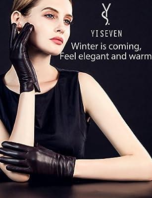 YISEVEN Women's Touchscreen Lambskin Dress Leather Gloves Flat Design