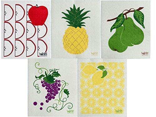 - Wet-It Swedish Dishcloth Set of 5 - 5 Different Fruits - NEW
