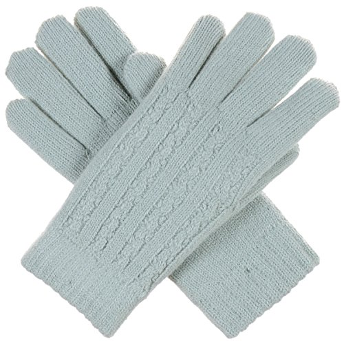Striped Nylon Gloves (BYOS Women Winter Classic Cable Ultra Warm Soft Plush Faux Fur Fleece Lined Knit Gloves (Pastel Green Striped Cable))