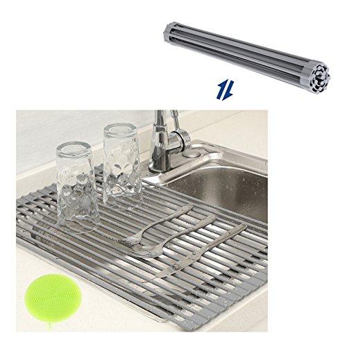 "SONGMICS Roll-Up Dish Drainer Rack Bonus Dish Scrubber Over the Sink Multipurpose Drying Rack Kitchen Countertop 20 1/2""L x 13 3/8""W Gray UKDR01G"