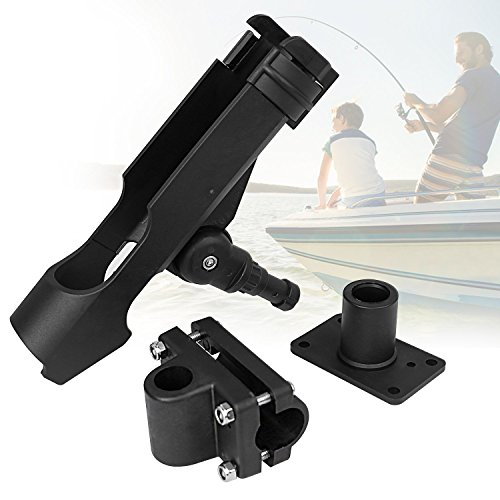 (PLUSINNO Adjustable Powerlock Fishing Rod Holder with 4 Side Mounts Boat Fishing Rod Racks(1PACK))