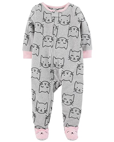 (Carter's Baby Girls' 12M-5T One Piece Fleece Pajamas, Sweet Kittes,)