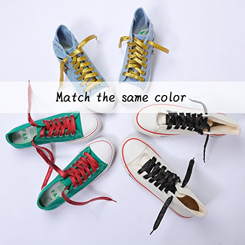 Odema Shoeslaces Glitter Sequin Flat Shoes Strings for Women Men LED Shoes Athletic Sneakers Boots 6 Pairs by Odema (Image #4)