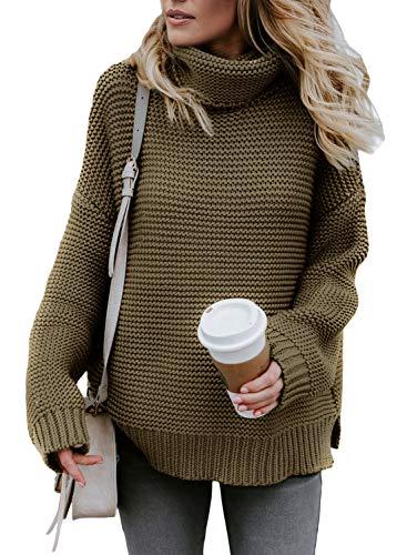 AlvaQ Women's Long Sleeve Winter Sweater Turtleneck Cable Knit Tunic Pullover Jumper Tops Green Medium