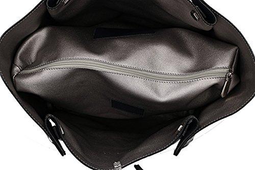 Umhängetasche damen PIERRE CARDIN double face schwarz leder Made in Italy VN1073