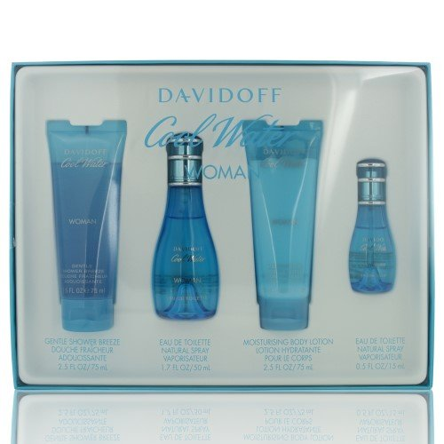Davidoff Cool Water Gift Set 1.7oz (50ml) EDT + 2.5oz (75ml) Body Lotion + 2.5oz (75ml) Shower Gel - Water Perfumes Women Cool For Set
