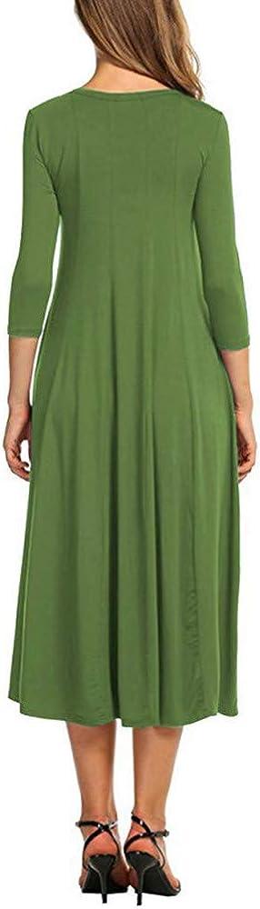 HuaMore Womens Casual Half Sleeve Loose Dress Evening Long Maxi Dress