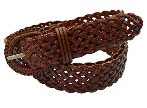 E-Clover Fashion Leather Woven Braided Belts Women's Jean Belt 1.2 Inch Wide(Brown) (Women Belt Brown Braided)