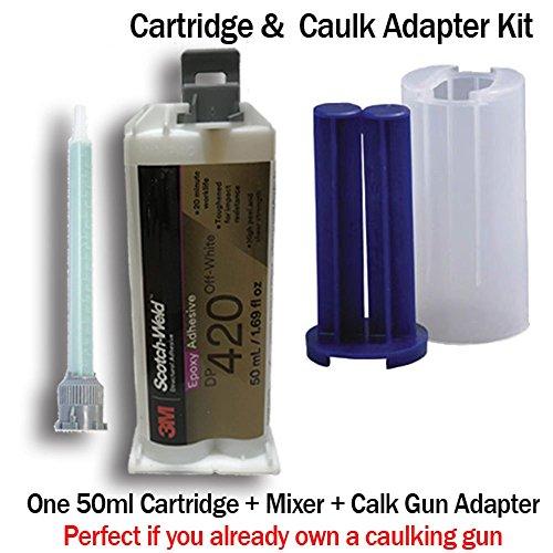 3M ScotchWeld DP420 Off-White 20-Minute Toughened Epoxy Adhesive Caulk Adapter Kit (50ml w/Caulk Gun Adapter Kit) by MMM-3M Scotch-Weld