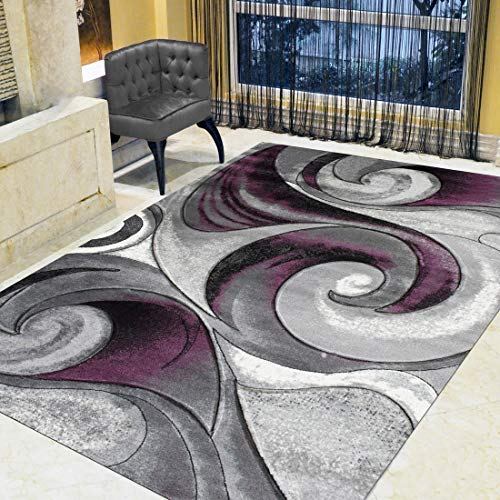 Swirls Abstract Design Modern Contemporary Hand Carved Area Rug-Silver/Purple/Gray/Black ()