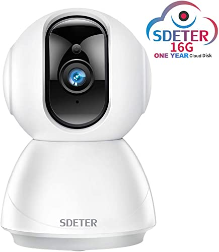 SDETER 1080P Security WiFi IP Dome Camera, Wireless 2-Way Audio Motion Detection Night Vision Baby Pet Monitor Includes One Year 16G Cloud Disk