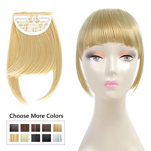Beauty : Fashion Clip On Bangs Blonde Fringe Hair Extensions Synthetic Hairpieces Clips in Hair Bang False Short Flat Bangs Two Side (Clip in Bang 27-613#)