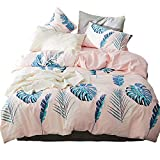 BHUSB 3 Piece Reversible Bedding Collection Queen for Kids Women,Leaves Print Lightweight Duvet Cover Sets Queen,Premium Cotton Comforter Cover Full Pink