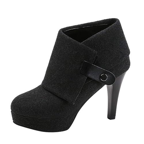 Botines Tacón de Aguja Altas Ancho para Mujer Invierno Primavera 2019 PAOLIAN Calzado Plateadoforma Cuña Fiesta Elegantes Zapatos de Vestir Puntiagudo Boda ...