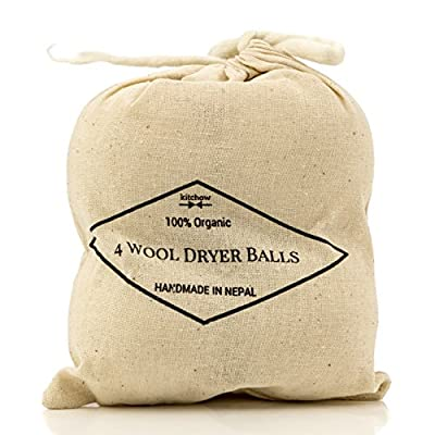 Wool Dryer Balls, 4-Pack - Natural Fabric Softener - Ecofriendly & Organic - Reusable Dryer Sheets for Infants - Soft and Gentle on Clothes & Skin