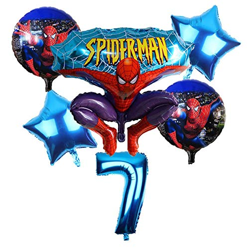Grocoto Ballons & Accessories 6pcs/lot Spiderman Foil Balloon Birthday Party Decorations Toys for Kids Gift 32 inch Number Balloon Wholesale 1 PCs]()