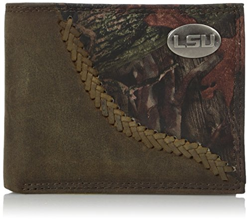 Zep-Pro LSU Tigers Camouflage Leather Bifold Concho Wallet, One Size, (Lsu Tigers Camo)
