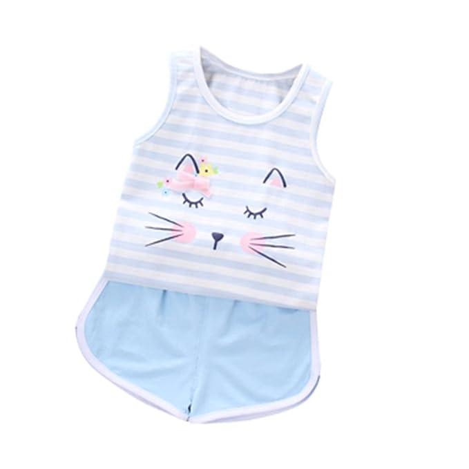 Btruely Herren 2018 Verano 2pcs Recién Nacido Infantil Bebé Unisex Impresión Tops Sin mangas+ Pantalones Trajes