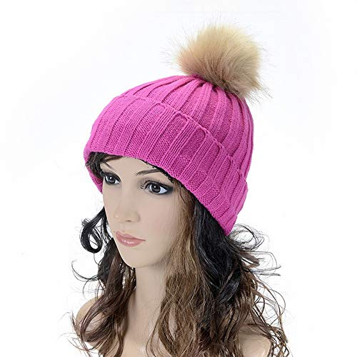 SED Women's Hat-Autumn Winter Ladies Solid Color Imitation Hanging Ball Curling Earmuffs Hat Knit Candy Color Line Cap to Keep Warm,Rose Red,Adult ()