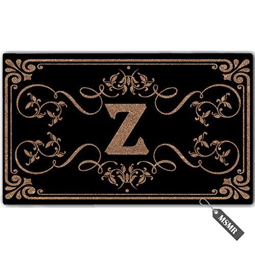 MsMr Personalized Monogram Door Mat Indoor Outdoor Custom Doormat Decorative Home Office Welcome Mat Z Letter Doormat 30