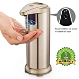 JING ❤30% Off❤❤ Automatic Soap Dispenser❤Touchless Stainless Steel Soap Dispenser Hand Free Fingerprint Resistant Coating, and Waterproof IR Infrared Motion Sensor for Kitchen Bathroom (Gold)