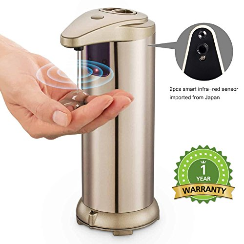 JING ❤30% Off❤❤ Automatic Soap Dispenser❤Touchless Stainless Steel Soap Dispenser Hand Free Fingerprint Resistant Coating, and Waterproof IR Infrared Motion Sensor for Kitchen Bathroom (Gold) by JING
